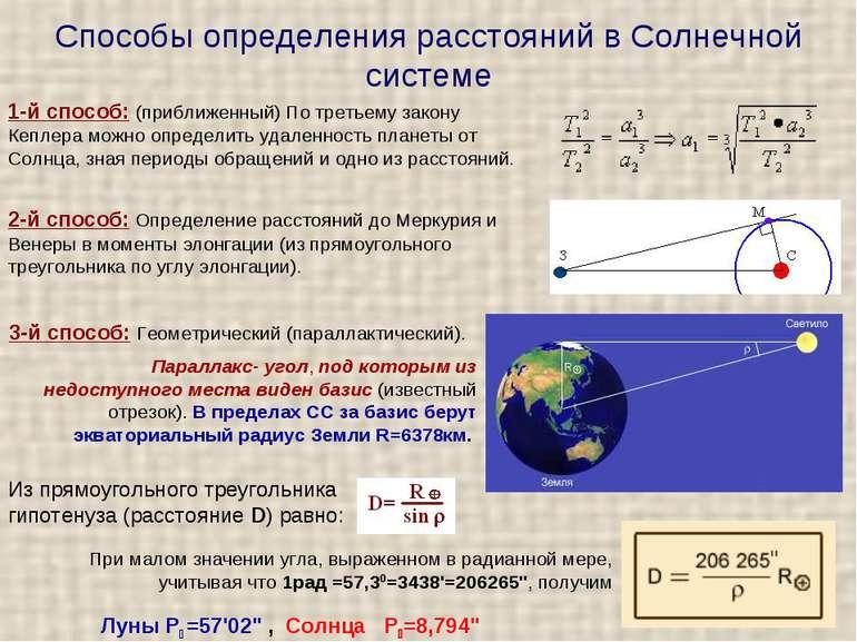 Способи визначення відстаней в Сонячній системі 2-й спосіб: Визначення відста...
