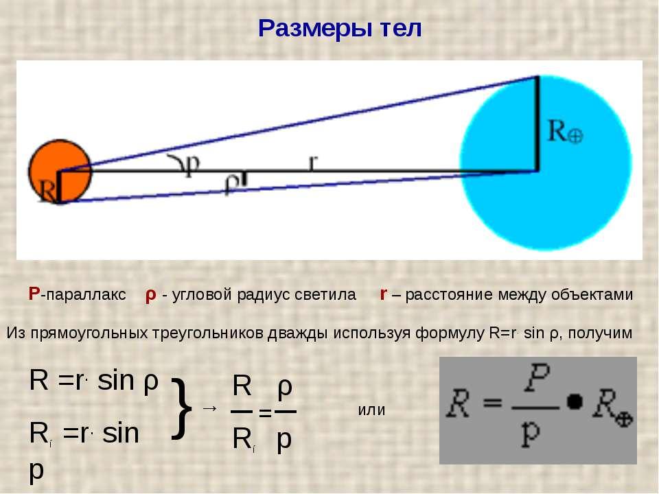 Розміри тіл Р-паралакс ρ - кутовий радіус світила r - відстань між об'єктами ...