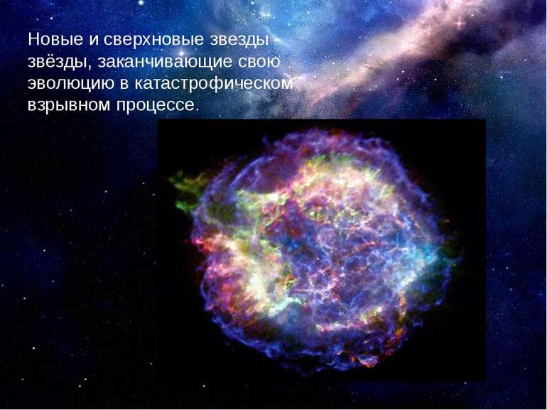 Нові та наднові зірки - зірки, які закінчують свою еволюцію в катастрофічному...