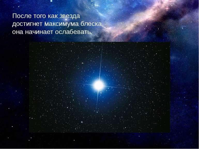 Після того як зірка досягне максимуму блиску, вона починає слабшати.