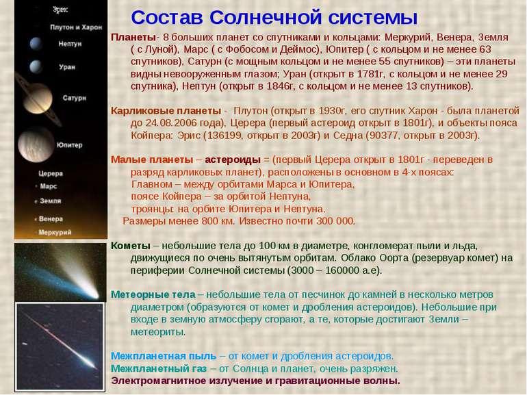 Склад Сонячної системи Планети - 8 великих планет із супутниками і кільцями: ...