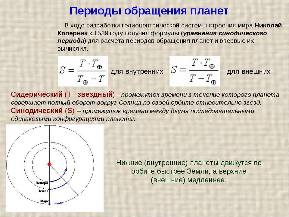 Періоди обертання планет У ході розробки геліоцентричної системи будови світу...
