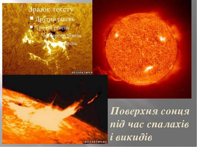 Поверхня сонця під час спалахів і викидів речовин