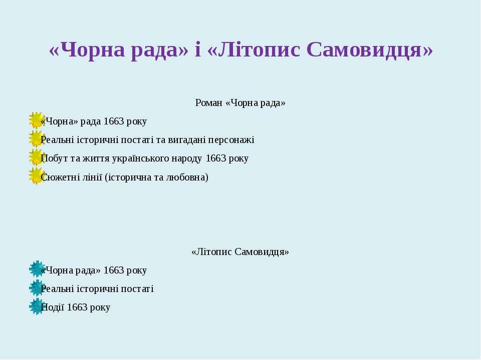 «Чорна рада» і «Літопис Самовидця» Роман «Чорна рада» «Чорна» рада 1663 року ...