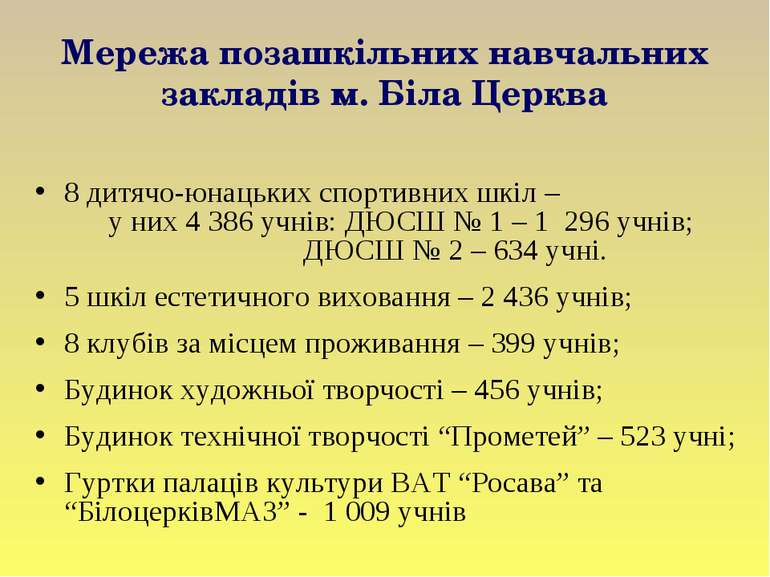 Мережа позашкільних навчальних закладів м. Біла Церква 8 дитячо-юнацьких спор...
