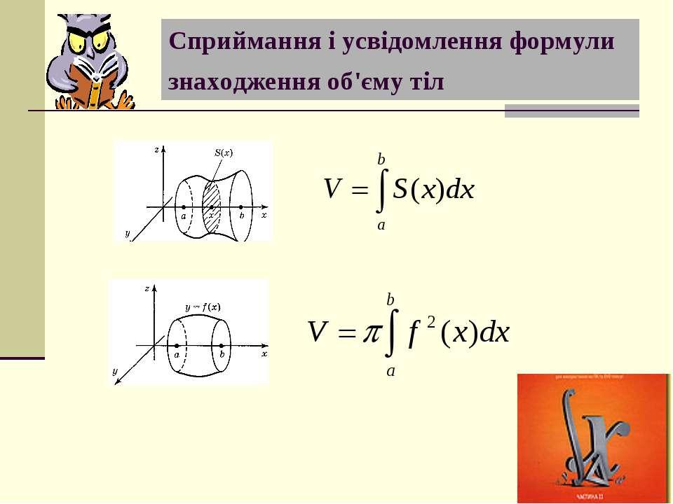 Сприймання і усвідомлення формули знаходження об'єму тіл