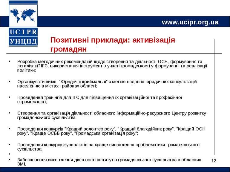 * Позитивні приклади: активізація громадян Розробка методичних рекомендацій щ...