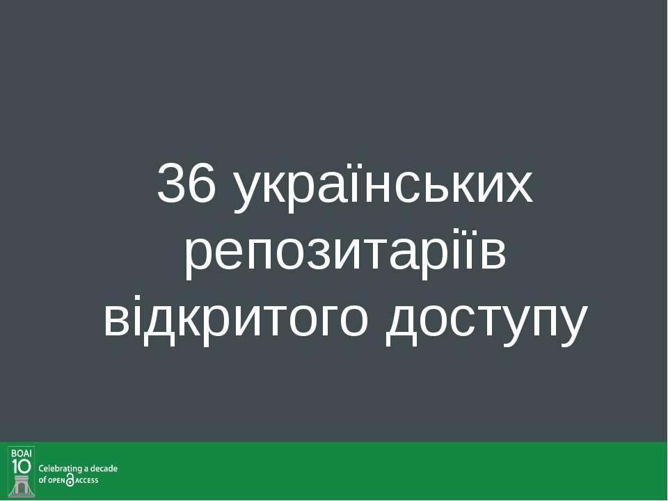 36 українських репозитаріїв відкритого доступу
