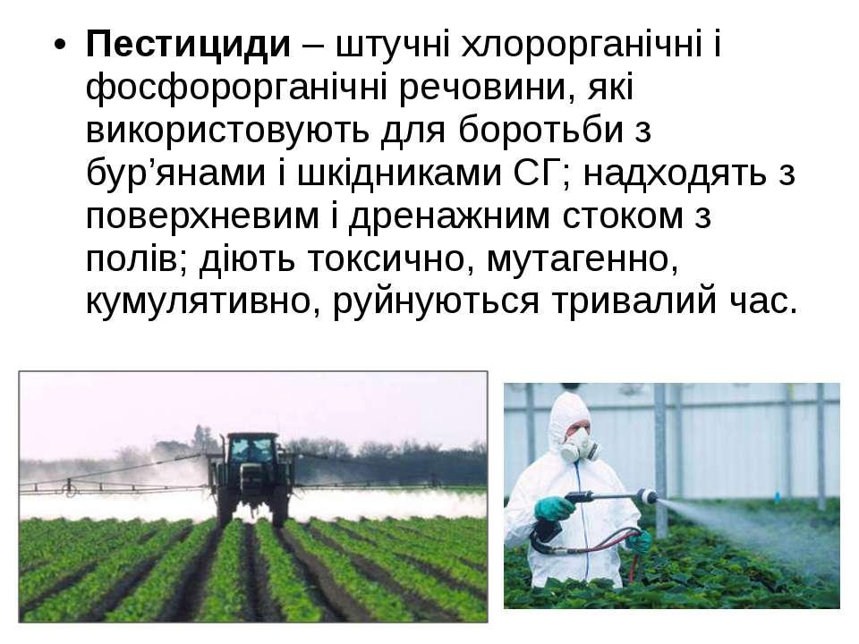 Пестициди – штучні хлорорганічні і фосфорорганічні речовини, які використовую...