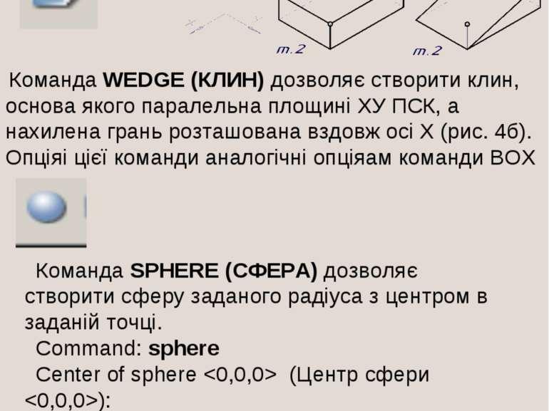 Команда WEDGE (КЛИН) дозволяє створити клин, основа якого паралельна площині ...