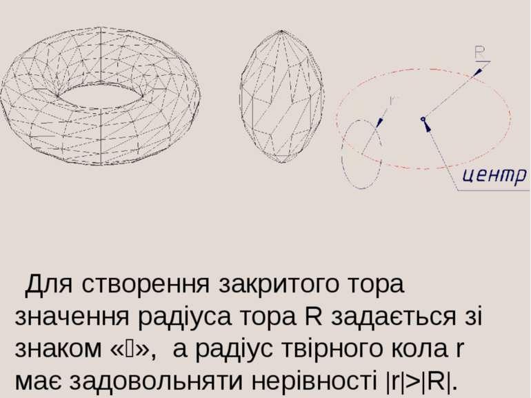 Для створення закритого тора значення радіуса тора R задається зі знаком « »,...