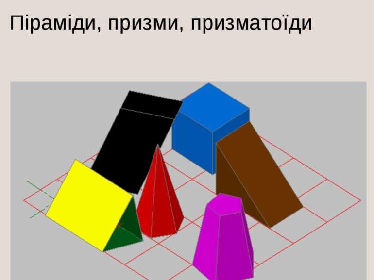 ВИДИ МНОГОРАННИКІВ Піраміди, призми, призматоїди