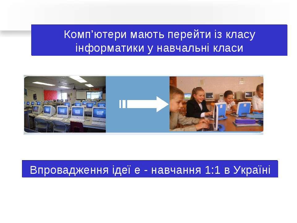 Комп'ютери мають перейти із класу інформатики у навчальні класи Впровадження ...