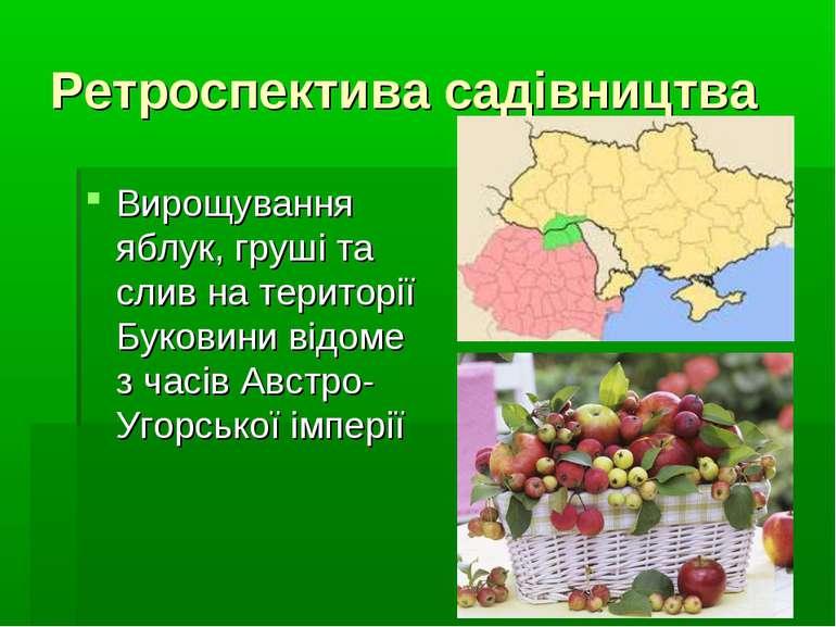 Ретроспектива садівництва Вирощування яблук, груші та слив на території Буков...