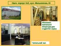 Навч. корпус №5, вул. Мельникова, 81 Читальний зал Абонемент навчальної літер...