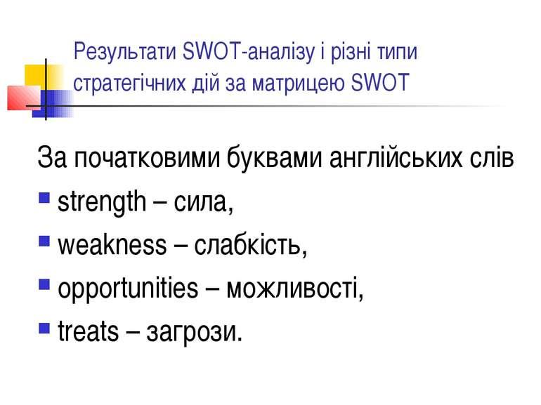 Результати SWOT-аналізу і різні типи стратегічних дій за матрицею SWOT За поч...