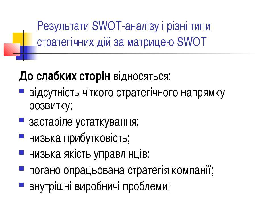 Результати SWOT-аналізу і різні типи стратегічних дій за матрицею SWOT До сла...