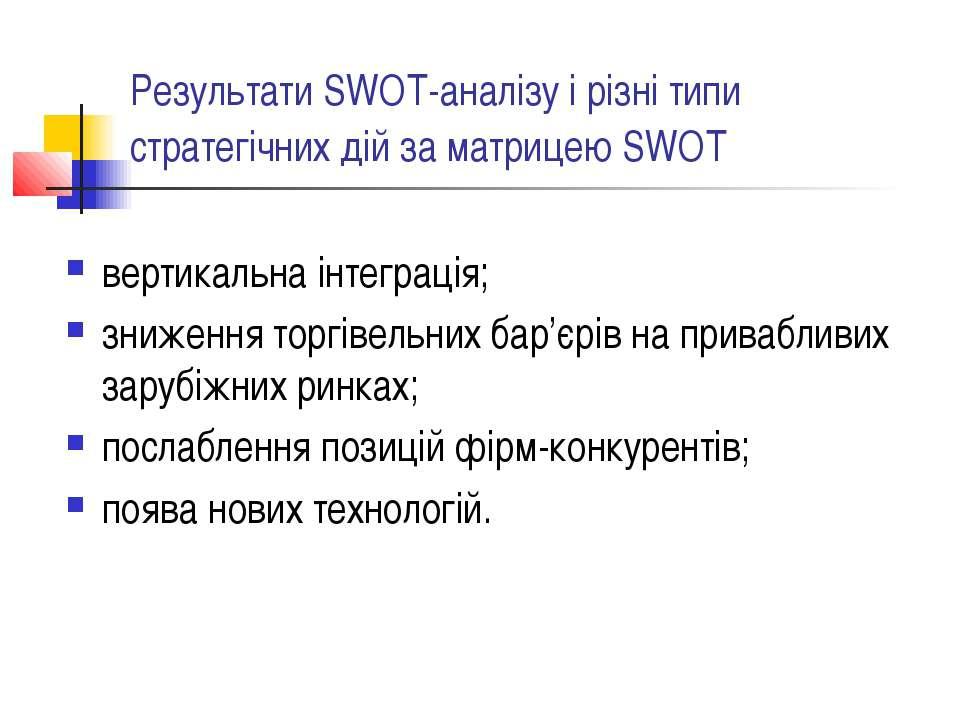 Результати SWOT-аналізу і різні типи стратегічних дій за матрицею SWOT вертик...