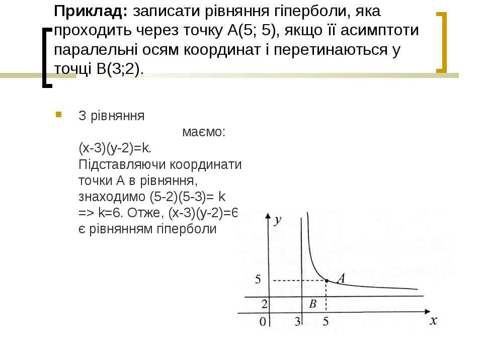 Приклад: записати рівняння гіперболи, яка проходить через точку А(5; 5), якщо...