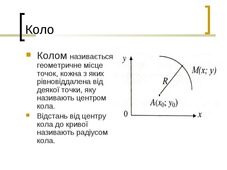 Коло Колом називається геометричне місце точок, кожна з яких рівновіддалена в...