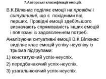 7.Авторські класифікації емоцій. В.К.Вілюнас поділяє емоції на провідні і сит...
