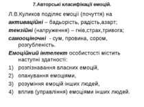 7.Авторські класифікації емоцій. Л.В.Куликов поділяє емоції (почуття) на акти...