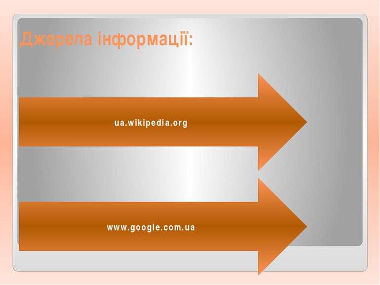 Джерела інформації: ua.wikipedia.org www.google.com.ua