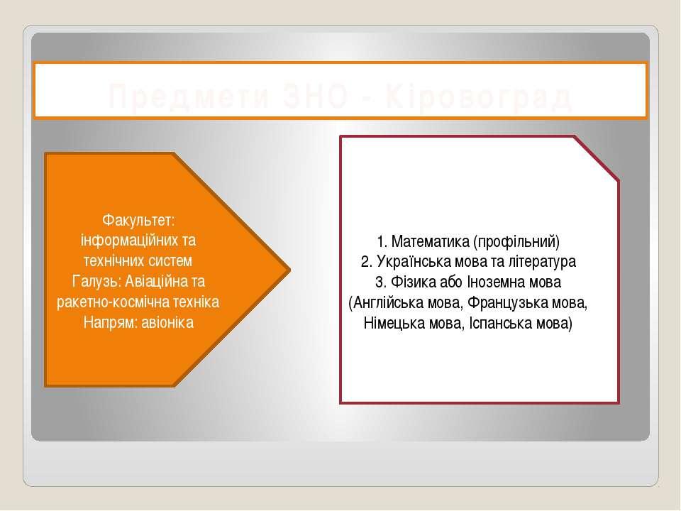 Предмети ЗНО - Кіровоград Факультет: інформаційних та технічних систем Галузь...