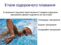 Етапи оздоровчого плавання В залежності від рівня підготовленості людини оздо...