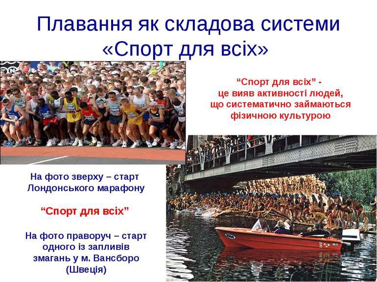 """Плавання як складова системи «Спорт для всіх» """"Спорт для всіх"""" - це вияв акти..."""