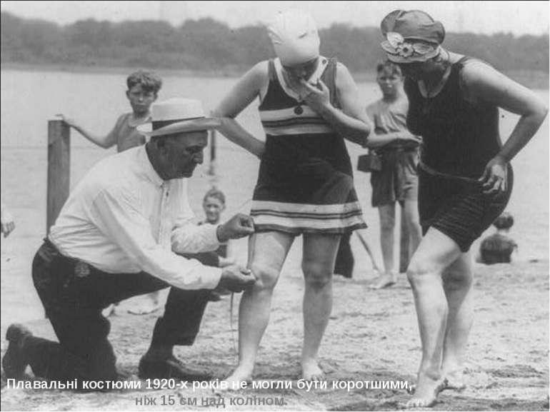 Плавальні костюми 1920-х років не могли бути коротшими, ніж 15 см над коліном.