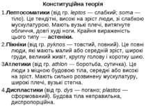 Конституційна теорія 1.Лептосоматики (від гр. leptos — слабкий; soma — тіло)....