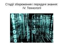 Стадії збереження і передачі знання: ІV. Технології