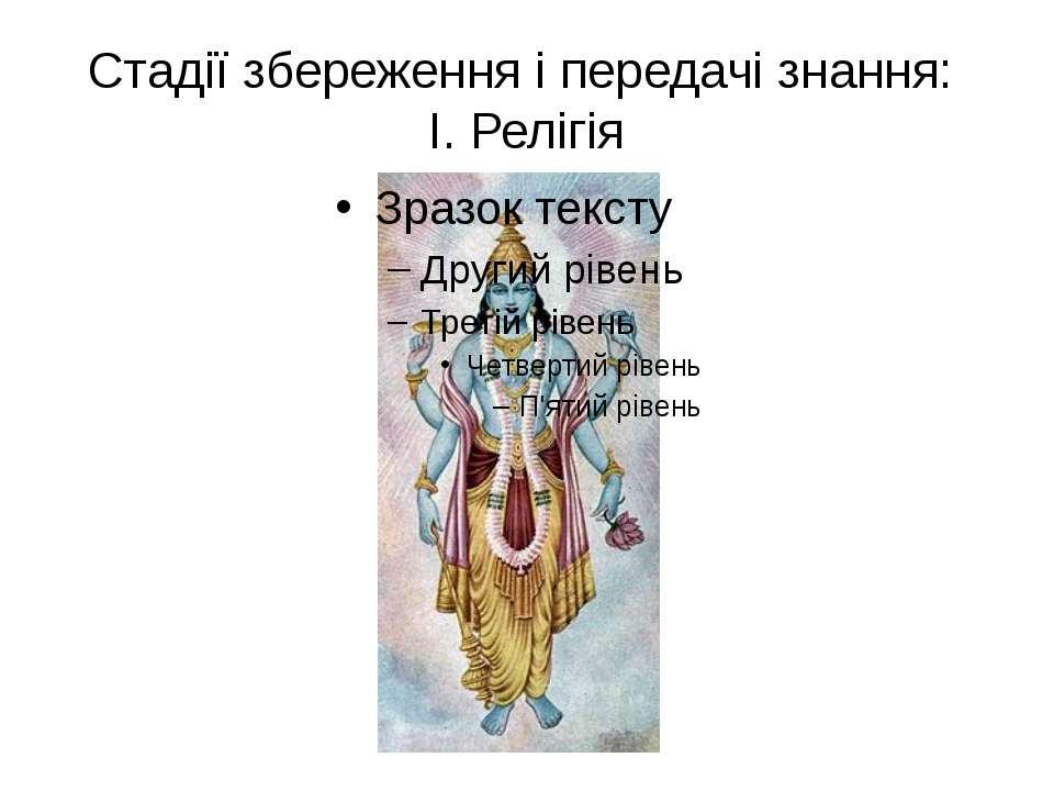 Стадії збереження і передачі знання: І. Релігія