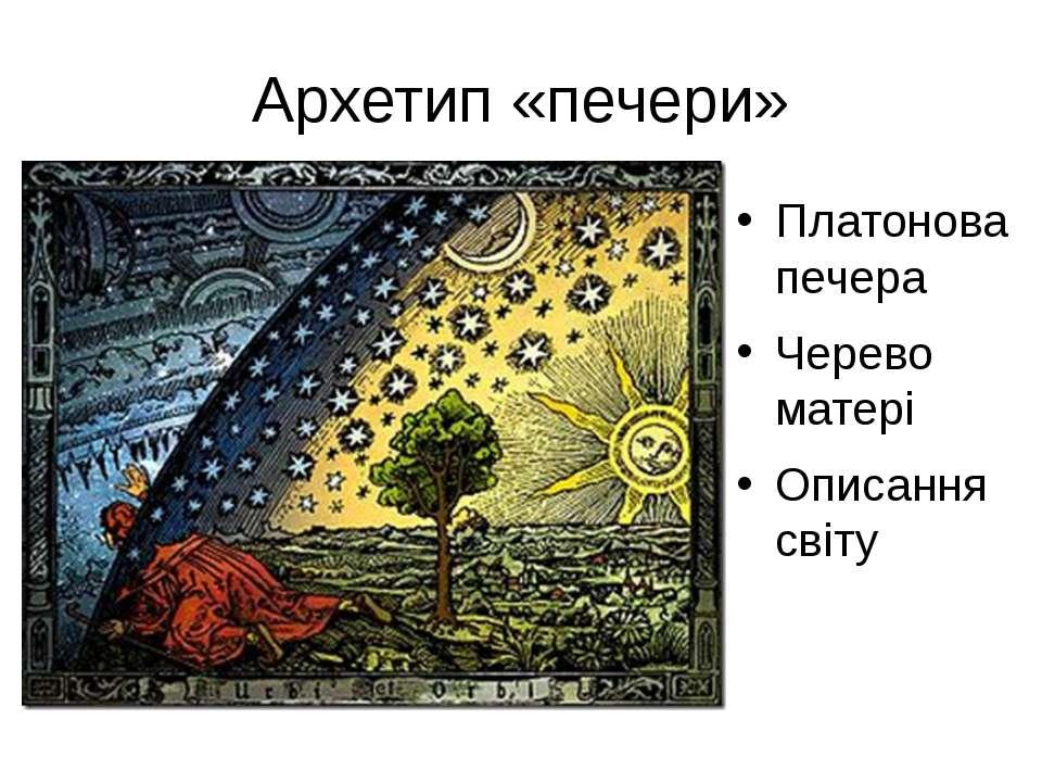 Архетип «печери» Платонова печера Черево матері Описання світу