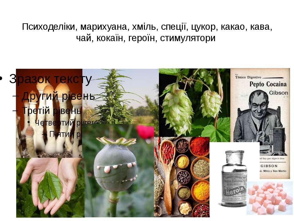 Психоделіки, марихуана, хміль, спеції, цукор, какао, кава, чай, кокаїн, герої...