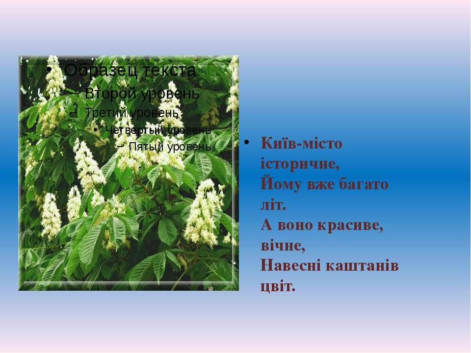 Київ-місто історичне, Йому вже багато літ. А воно красиве, вічне, Навесні ...