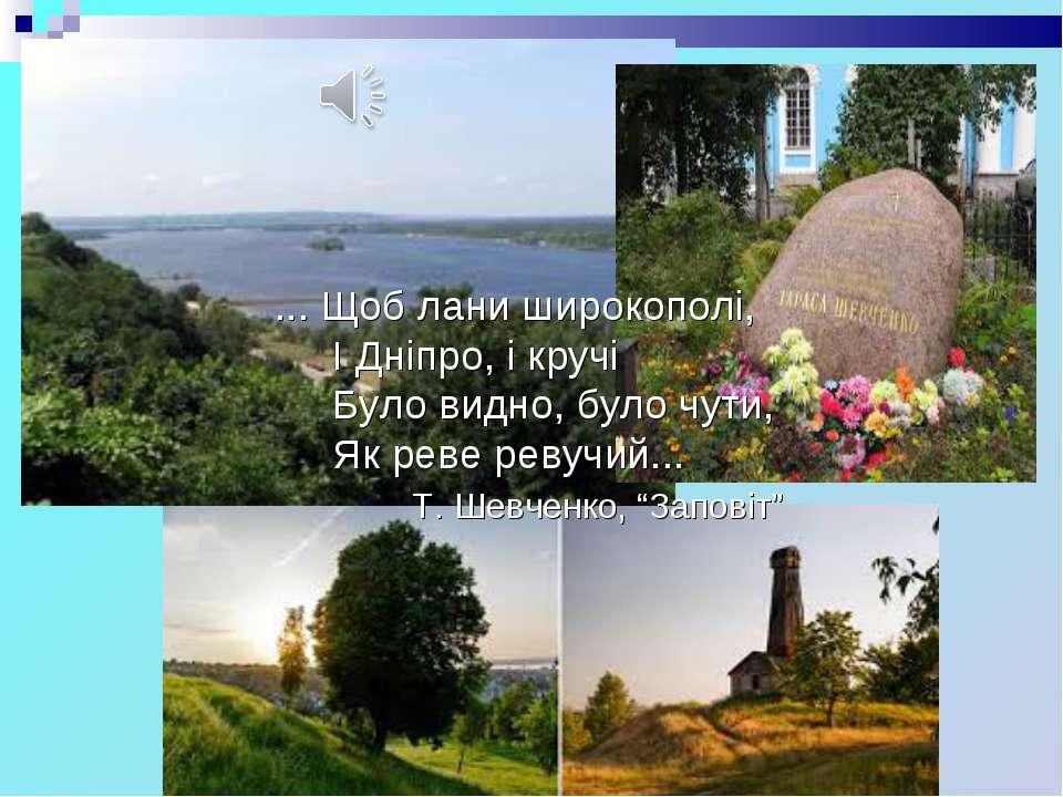 ... Щоб лани широкополі, І Дніпро, і кручі Було видно, було чути, Як реве рев...