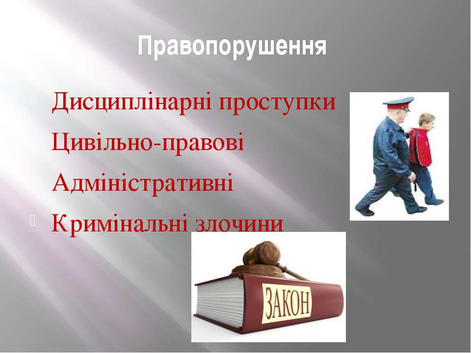 Правопорушення Дисциплінарні проступки Цивільно-правові Адміністративні Кримі...