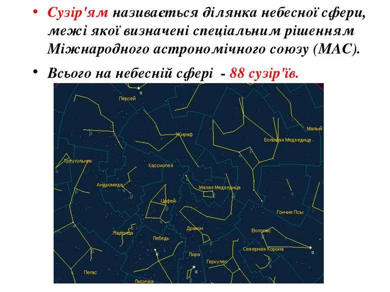 Сузір'ям називається ділянка небесної сфери, межі якої визначені спеціальним ...