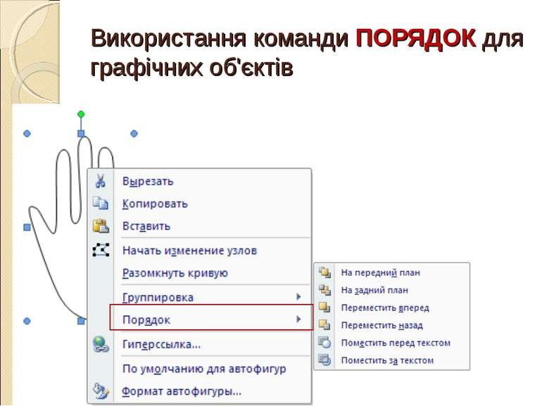 Використання команди ПОРЯДОК для графічних об'єктів