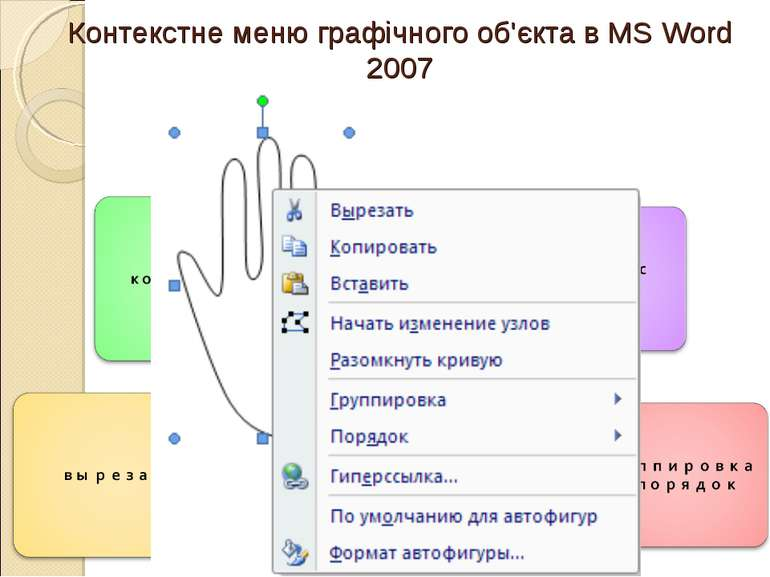 Контекстне меню графічного об'єкта в MS Word 2007
