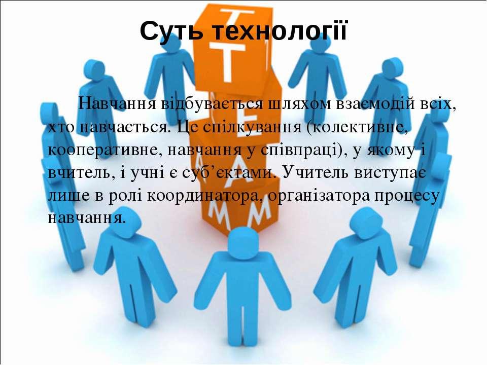 Суть технології Навчання відбувається шляхом взаємодій всіх, хто навчається. ...