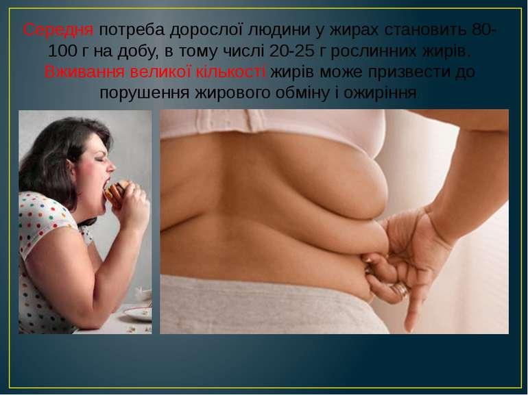 Середня потреба дорослої людини у жирах становить 80-100 г на добу, в тому чи...
