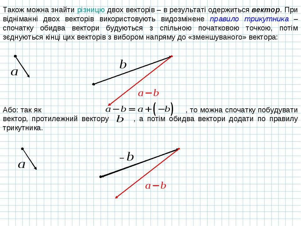 Також можна знайти різницю двох векторів – в результаті одержиться вектор. Пр...