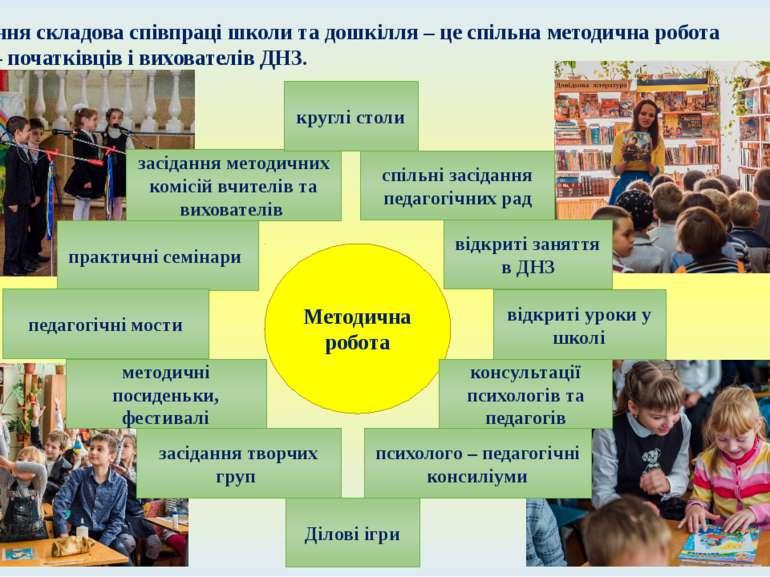 І остання складова співпраці школи та дошкілля – це спільна методична робота ...