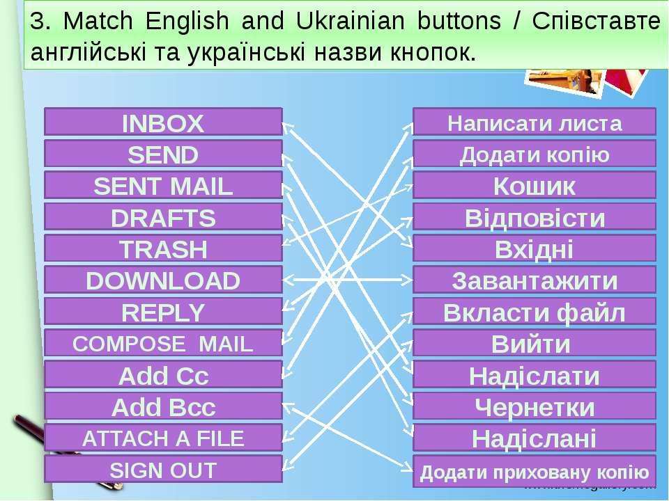 3. Match English and Ukrainian buttons / Співставте англійські та українські ...