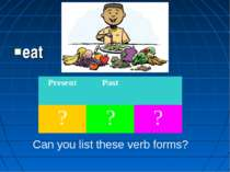 eat Can you list these verb forms? Present Past ? ? ?