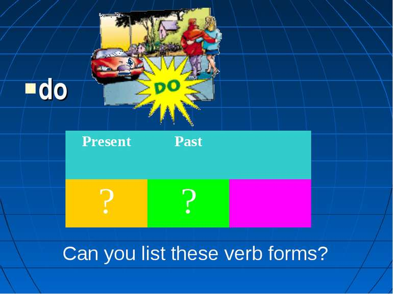 do Can you list these verb forms? Present Past ? ?