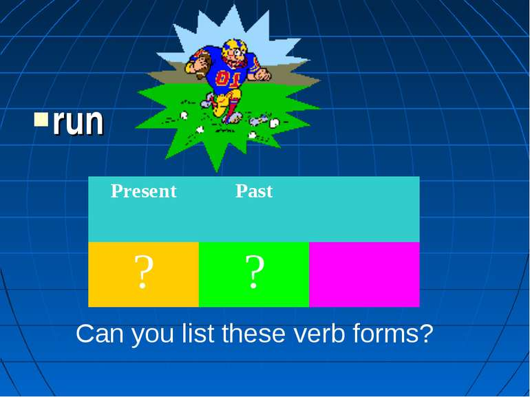 run Can you list these verb forms? Present Past ? ?